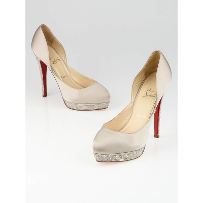 Christian Louboutin Beige Satin Eugenie 140 Strass Pumps Size 9/39.5