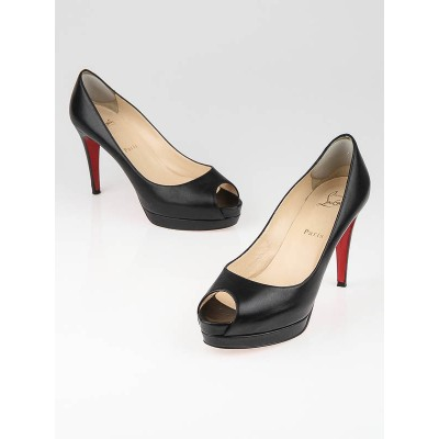 Christian Louboutin Black Leather Altadama 100 Peep Toe Pumps Size 8/38.5