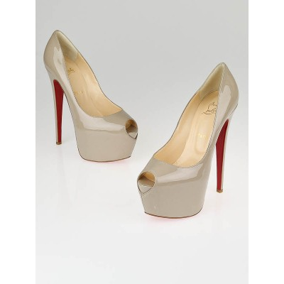 Christian Louboutin Stone Patent Leather Highness 160 Pumps Size 9/39.5