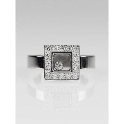Chopard 18k White Gold 'Happy Diamond' Floating Diamond Icons Ring Size 5
