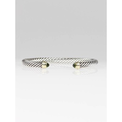 David Yurman 5mm Sterling Silver and Peridot Cable Classics  Bracelet