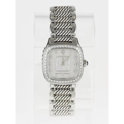 David Yurman Stainless Steel and Pave Diamond 25mm Thoroughbred Quartz Watch