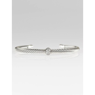 David Yurman Sterling Silver and Diamond Cable Classic Bracelet