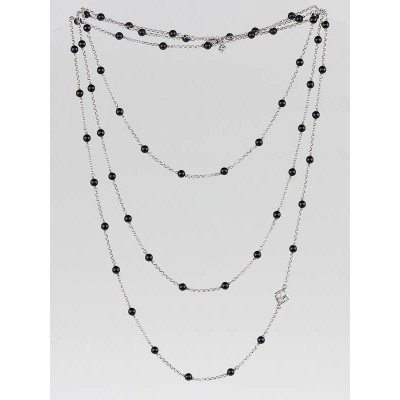 David Yurman Sterling Silver and Black Onyx Bead Spinal Chain Necklace
