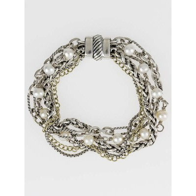 David Yurman Sterling Silver and 18k Yellow Gold Pearl Mixed Chain Bracelet