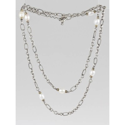 David Yurman Sterling Silver and Pearl Figaro Chain Long Necklace