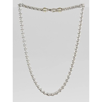 David Yurman 7mm Sterling Silver and 14k Gold Wheat Chain Necklace