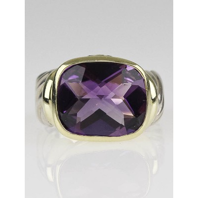 David Yurman 14k Gold and Amethyst Noblesse Cable Ring Size 6.5