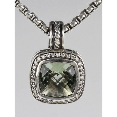 David Yurman 7mm Prasiolite and Diamond Albion Pendant Necklace