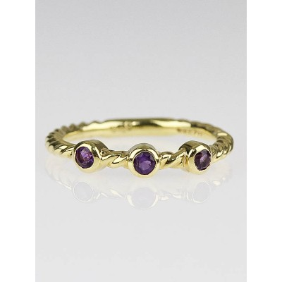 David Yurman 18k Gold Cable Amethyst Stackable Ring Size 6