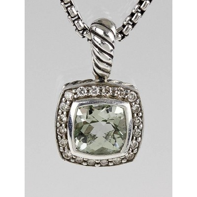 David Yurman 7mm Prasiolite and Diamond Petite Albion Pendant Necklace