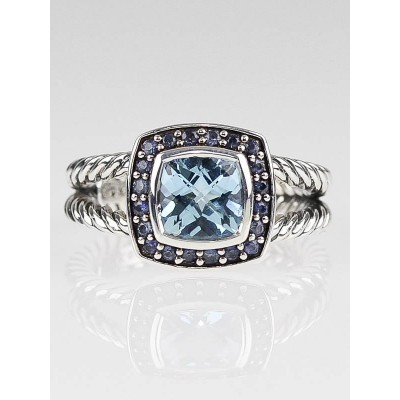 David Yurman 7mm Blue Topaz and Sapphire Petite Albion Ring Size 6.5