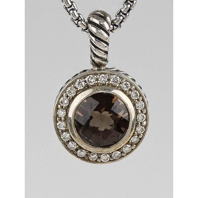 David Yurman 8mm Smoky Quartz and Diamond Petite Round Pendant