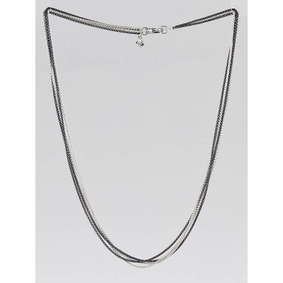 David Yurman Sterling Silver Four-Row Baby Box Chain Necklace