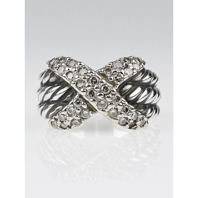 David Yurman 14k and 18k White Gold Diamond Crossover Ring Size 6.5