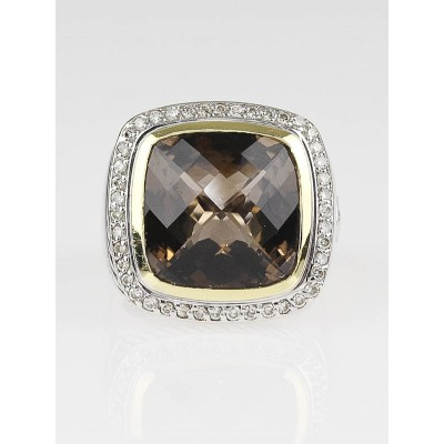 David Yurman 14mm Smoky Quartz and Diamond Albion Ring Size 7