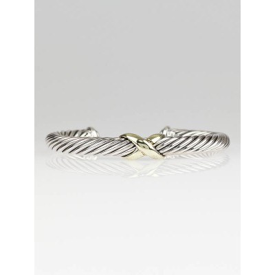 David Yurman 7mm 14k Gold and Sterling Silver X Cable Bracelet