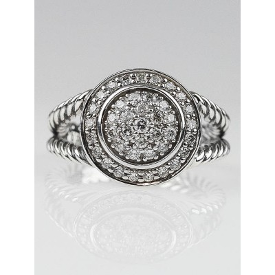 David Yurman 8mm Pave Diamond Albion Ring Size 6