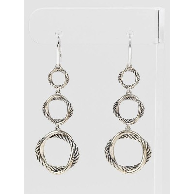 David Yurman Sterling Silver  Three-Drop Cable Infinity Earrings
