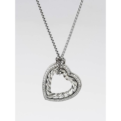 David Yurman Sterling Silver Cable and Diamond Cable Heart Pendant Necklace