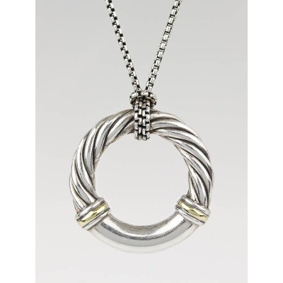 David Yurman Sterling Silver and 18k Gold Cable Metro Pendant