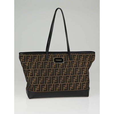 Fendi Tobacco Zucca Canvas and Leather Large Tote Bag