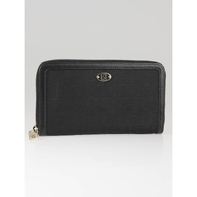 Fendi Black Zucca Canvas and Leather Continental Zippy Wallet