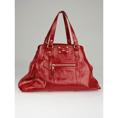 Fendi Red Patent Leather Oversized De Jour Tote Bag
