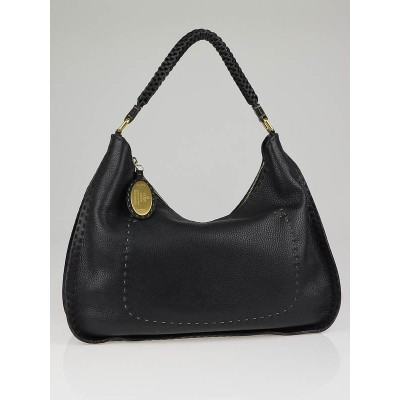 Fendi Black Selleria Leather Hobo Bag