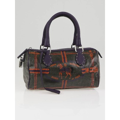Fendi Green/Purple Spalmati Coated Vinyl Selleria Mini Boston Bag