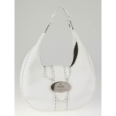 Fendi White Selliera Leather Small Hobo Bag