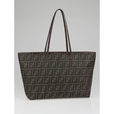 Fendi Tobacco Zucca Print Coated Canvas Roll Tote Bag