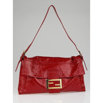 Fendi Red Patent Leather Large Convertible Baguette Bag