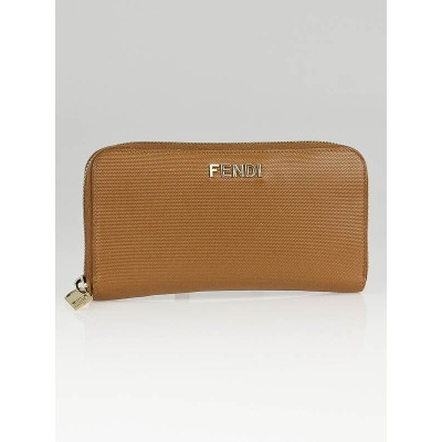 Fendi Tan Coated Canvas Zip Continental Wallet