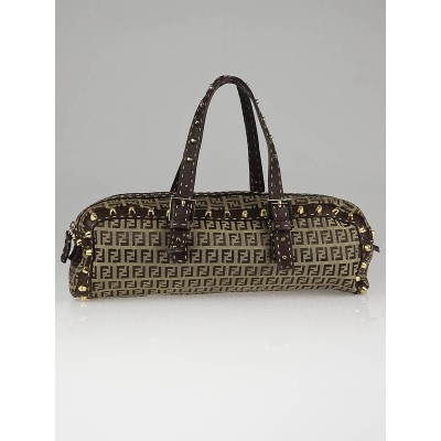 Fendi Brown Zucchino Canvas and Selliera Leather Studded Satchel Bag