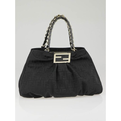 Fendi Black Zucca Print Canvas Large Mia Shoulder Bag