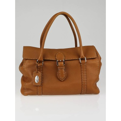 Fendi Camel Selleria Leather Large Flap Satchel Bag