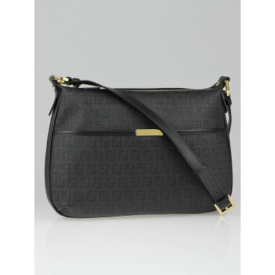 Fendi Black Zucchino Coated Canvas Spalmati Messenger Bag
