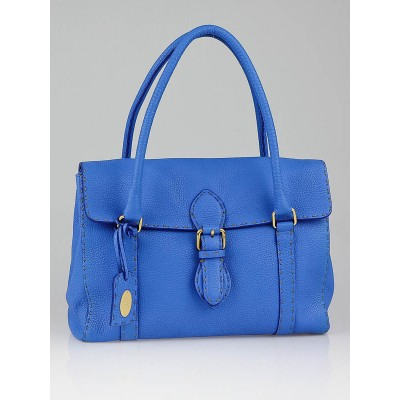 Fendi True Blue Selleria Leather Medium Linda Tote Bag