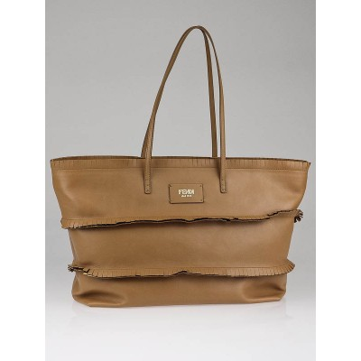 Fendi Tan Leather Ruffle Roll Tote Bag