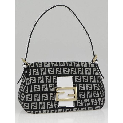 Fendi Black/White Zucchino Print Canvas Mini Mamma Bag