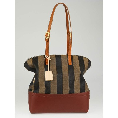 Fendi Tobacco Pequin Striped Canvas 2-Way Shopper Tote Bag