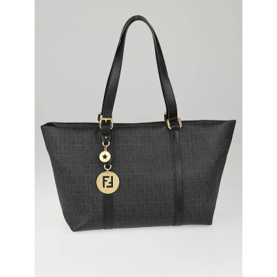 Fendi Black Zucchino Print Coated Canvas Shopping Tote Bag
