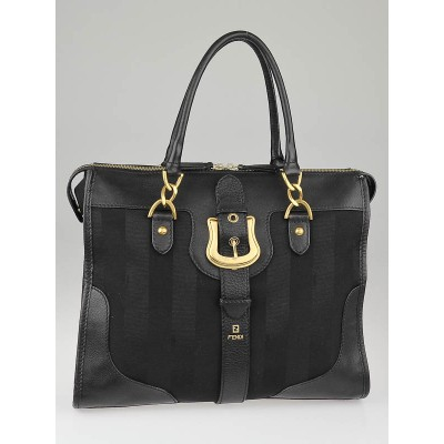Fendi Black Pequin Stripe Canvas and Leather Doctor B Tote Bag