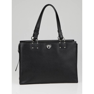 Salvatore Ferragamo Black  Saffiano Leather Tote Bag