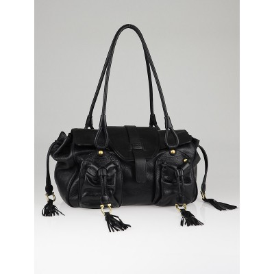 Salvatore Ferragamo Black Leather Fringe Satchel Bag