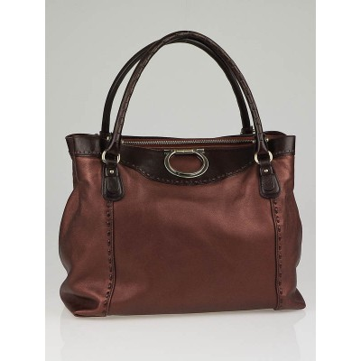 Salvatore Ferragamo Bronze Leather Square Medium Tote Bag