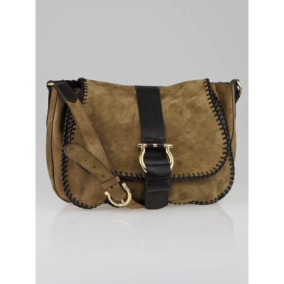 Salvatore Ferragamo Beige Suede Emidia Flap Crossbody Bag