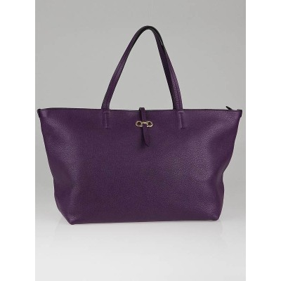 Salvatore Ferragamo Purple Pebbled Leather Bice Tote Bag