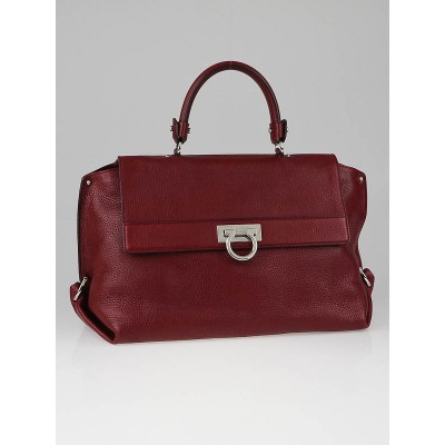 Salvatore Ferragamo Dark Red Pebbled Calfskin Leather Large Sofia Bag
